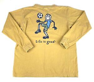 Life is Good Boys Soccer Long Sleeve Tan Cotton Tshirt Size XL (14)