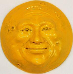 Full Moon Sculpture, Yellow Full Moon Wall Art, Indoor Outdoor Art by Claybraven