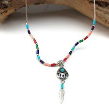Zuni sterling silver bear paw turquoise necklace and pendant 16 inches