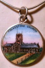 Sterling Silver and Enamel Pendant Featuring an Image of Folkestone Church