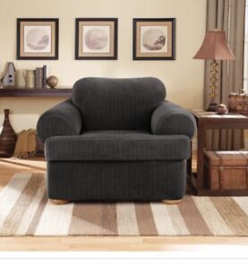⚡️ Sure Fit Stretch Pinstripe Two-piece T-Cushion Chair Slipcover - Black