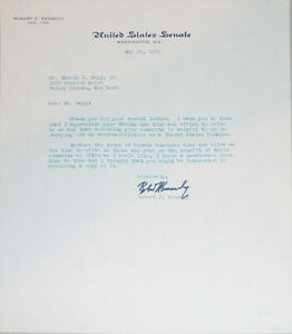 -Rare- 1967 -Robert F Kennedy- Vintage Signed/Autograph Letter - RFK!