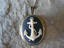 ANCHOR CAMEO LOCKET -ANTIQUE BRONZE, NAVAL, NAVY, TROPICAL, NAUTICAL, QUALITY