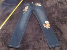 Artisan NY womens size 2 PAINTED Floral BLUE Ankle Jeans Skinny stretch