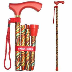 Switch Sticks Walking Cane for Men or Women Foldable and Adjustable from 32-3...