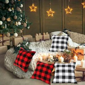 18x18 Buffalo Check Plaid Throw Pillow Covers Cotton Linen Cushion for Sofa Home