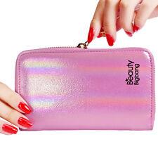 24 Slots Nail Art Stamping Plate Holder Laser Pink Zipper Template Case Bag