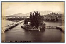 W. England, Schweiz, Panorama de Genève et le Mont Blanc  Vintage albumen print