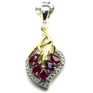 NATURAL RED RUBY & WHITE CZ STERLING 925 SILVER PENDANT