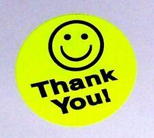 500 Big Thank You Smiley Label Sticker Round Circle 15 1 12 Best Price Yellow