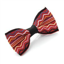 SMALL 6cm WIDE RED BOW HAIR CLIP SLIDE WITH MULTICOLOUR ETHNIC ZIG ZAG STRIPES