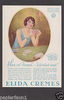Elida Creme Reklame von 1928 Karten Kartenspiel Herz Trumpf Charlston Dame Bluff