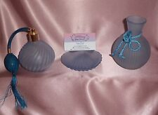 Vintage ~ Blue Glass Vanity Perfume Vase Shell Dish ~ Estate Collectable