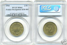FRANCE LIBRE (1940-1944) 2 FRANCS 1944 PHILADELPHIE PCGS MS 64 !!!!