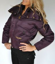 New Womens Baby Phat Down Filled Jacket Coat Purple Gold Satin Plus 2X