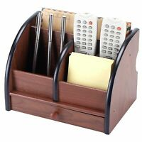 Wooden Desk Organizer Tidy Table Office Accessories Pen Holder Sorter Drawers