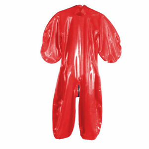 100% Latex Gummi Catsuit Rot Anzug Kostüm Overall Suit Ganzanzug Kostüm
