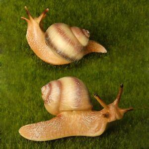2pcs Lifelike Large Snail Beige Fairy Garden Terrarium Lawn Decor Figurine Toy