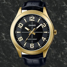 Casio MTP-VX01GL-1B Mens Black Analog Watch Leather Band Big Case Dial New
