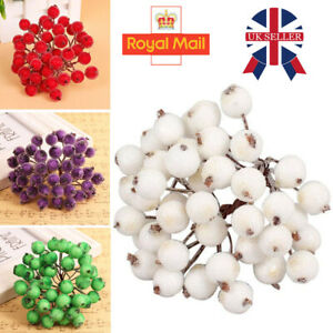 200x Mini Christmas Foam Frosted Fruit Artificial Holly Berry Flower Home Decor