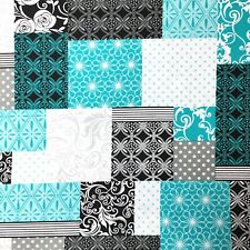 Paisley Patchwork Turquoise Teal Black Grey White Sewing Quilting Fabric FQ