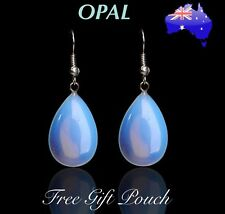 Natural Opal Crystal Stone Water Drop Teardrop Dangle Pierced Earrings Gift NEW