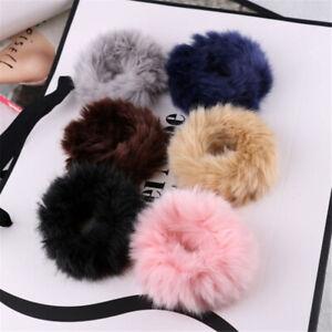 1x Scrunchies Fluffy Faux Fur Fuzzy Elastic Scrunchy Bobbles Hair Ropes Rings UK