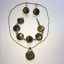 3 pcs Akik 925 Sterling Silver & Amber Jewelry Set