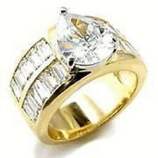 18K GOLD EP 8.0CT DIAMOND SIMULATED ENGAGEMENT RING 5 J