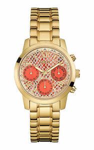 Guess Women's Watch Ladies Golden Stainless Steel Bracelet Orange Dial W0448L7