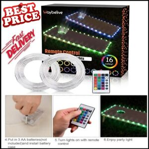 LED Cornhole Lights With Color Remote Control Board Edge And Ring Lights 2 Set