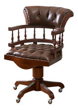 Solid Mahogany Captains Chair Brown leather upholstery Antique Repro CHR001