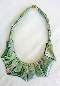 Artisan Dramatic Collar Necklace Inlaid Mother of Pearl Chips in Resin