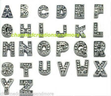 A-Z Set Silver Initial Floating Charms For Lockets Letter Alphabet Wholesale Lot