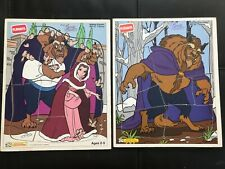 Playskool Vintage BEAUTY AND THE BEAST set of 2 Wooden Puzzles Disney