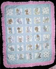 PRECIOUS MOMENTS Baby Girl Alphabet Quilted Blanket Pink Ruffle Edges 39x47 EEUC