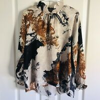 NWT Anthropologie Everleigh peasant blouse Brown Abstract women's size small