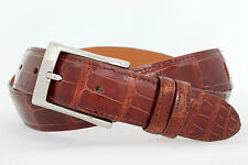 Genuine American Alligator cognac glossy finish Custom handmade belt Size 32-44