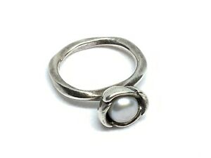 "Genuine Pandora Ale Sterling Silver ""My Wish"" Bloom Grey Pearl Ring (Sz. 5.25)"