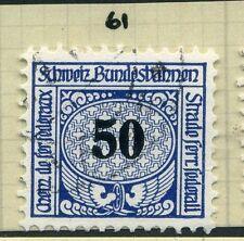 SWITZERLAND;  1913-30s early RAILWAY PARCEL stamp fine used  50c. Type  61