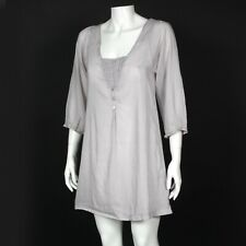 Anthropologie Trinity Gray Peasant Boho Dress Embroidery Design Small sz Small