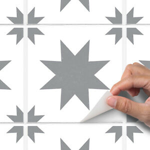 Dark Grey Modern Star Tile Sticker Decal Bathroom Kitchen - T29