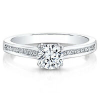 0.70 Ct Diamond Engagement Ring 14K Solid White Gold Wedding Rings Size 5 6 7 8