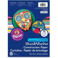 SunWorks Construction Paper, 58 lbs., 9 x 12, Orange, 50 Sheets/Pack, PK - PAC66