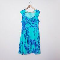 Review Womens Size 14 Teal Blue Floral Fit & Flare Dress