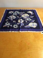 "$69  Women's Echo Silk scarf  32"" Square blue tones flowers   #506"