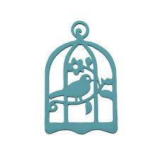 Sculpté à la main bois oiseau de Cage pendentif 32x50mm Teal Pack de 1 (M90)