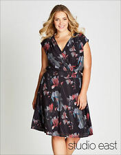 Studio East Autograph Katie's graphic rose lined Dress + belt tie size 26 NEW