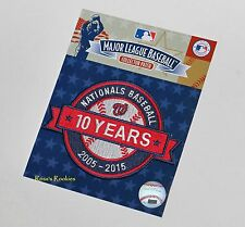 2015 WASHINGTON NATIONALS OFFICIAL 10TH ANNIVERSARY MLB PATCH - 2005-2015