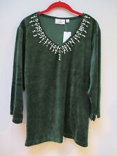 QUACKER FACTORY Forest Green Pearl Sparkle Velour Top XL